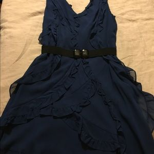 BCBG Maxazria Blue Ruffle Dress